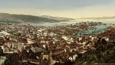 A panoramic view of the city of Bergen in Hordaland, Norway Art Print by Chateau Partay - X-Small Hungary Travel, Denmark Travel, Norway Travel, Italy Travel, Bergen, Norway Places To Visit, Norway Beach, Norway Forest, Lithuania Travel