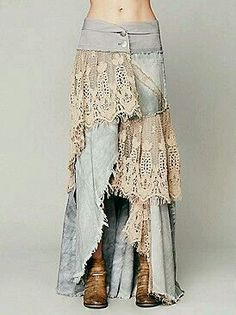 Normally I hate long jean skirts made from old jeans, but the lace could make it cute, if the denim is thin enough. Mode Hippie, Mode Boho, Denim And Lace, Diy Clothing, Sewing Clothes, Sewing Jeans, Gypsy Clothing, Diy Jeans, Altered Couture