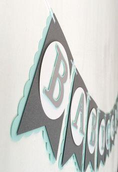 Owl Baby Shower Banner Mint Grey & White by Nostresspartyforless