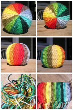 """Perhaps as an """"oops, I left my handwork at home"""" communal … Rainbow Ball pattern. Perhaps as an """"oops, I left my handwork at home"""" communal project. Knitting For Kids, Knitting For Beginners, Loom Knitting, Baby Knitting, Free Knitting, Knitting Designs, Knitting Patterns Free, Knitting Projects, Crochet Projects"""
