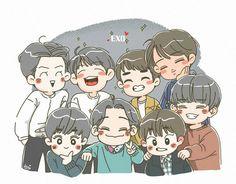 #EXO Baekhyun, Exo Kokobop, Kpop Exo, Exo Cartoon, Exo Stickers, Exo Anime, Love Doodles, Exo Fan Art, Night Aesthetic
