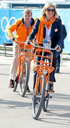Queen Máxima and King Willem Alexander at the Olympics in Sochi, Russia--- I just love that the national colour of the Neatherlands is ORANGE!