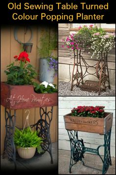 Turn an Old Sewing Table Into a Colour Popping Planter For Your Porch