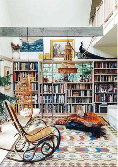 38 Cozy Home Library Room Design Ideas Home Interior, Interior And Exterior, Bohemian Interior, Interior Architecture, Bentwood Rocker, Bentwood Chairs, Library Room, Ny Library, Dream Library