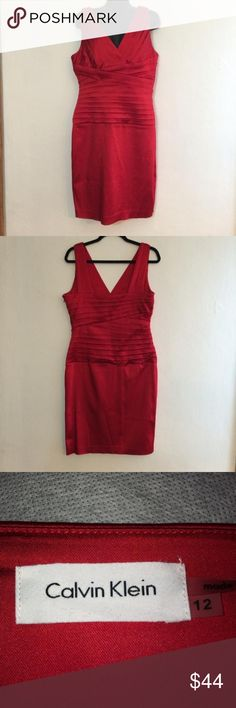 Calvin Klein Sheath Dress Elegant Calvin Klein Sleeveless Sheath Dress, with V neckline front and back; size 12, Color red. Calvin Klein Dresses Midi