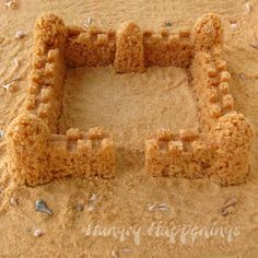Caramel Rice Krispies Treat Sand Castle made using sand molds.