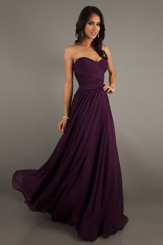 Cheap Prom Dresses/Short Prom Dresses/Ball Gowns/Formal Dress/ A Line Sweetheart Floor Length Chiffon Prom Dresses Ruffles USD - VoguePromDresses Vestidos Color Uva, Pretty Dresses, Beautiful Dresses, Gorgeous Dress, Awesome Dresses, Strapless Dress Formal, Formal Dresses, Dress Prom, Long Dresses