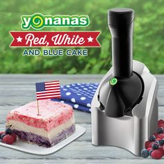 """Need a dairy-free recipe for Memorial Day or 4th of July? Enjoy this 100% Fruit Red White & Blue Yonanas """"ice cream"""" cake made ONLY  with bananas, berries & coconut milk!"""