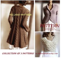 Collection of 3 Knitting Patterns Cowl Vest Womens Sweater Coat Knit Blazer Jacket Knit Cardigan in ENGLISH ONLY PDF Pattern Knitted Coat Pattern, Knit Vest Pattern, Sweater Knitting Patterns, Knit Blazer, Knit Cardigan, Blazer Jacket, Western Outfits, Coat Patterns, Clothing Patterns