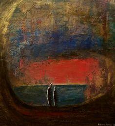 La caverne 40 x40cm pigments et enduit sur bois