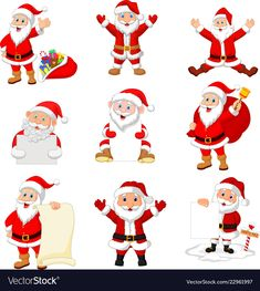Cartoon santa claus collection set vector image on VectorStock Free Vector Images, Vector Free, Happy New Year 2020, Nouvel An, Merry Christmas And Happy New Year, Merry And Bright, Adobe Illustrator, Art Drawings, Santa