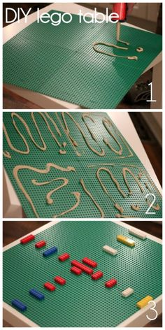 assembling a lego table