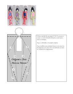 Utilize metade de um papel 15 X 15 cm para o corpo e a outra metade dobrada ao meio para fazer as mangas.  Faça o cabelinh...