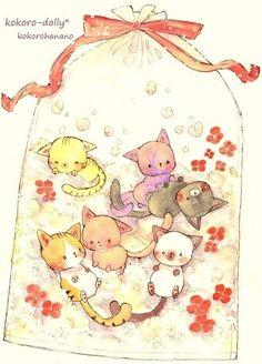 动漫 插画 手绘 壁纸 小猫 ╯з ︶ 麽麽