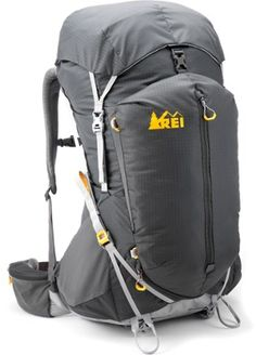 (Seans Pack, already purchased) Lightweight, yet comfortable for long days on long trails, the REI Flash 65 pack hugs your body for great support and load balance, while a ventilated mesh back panel keeps you cool. Available at REI, 100% Satisfaction Guaranteed.
