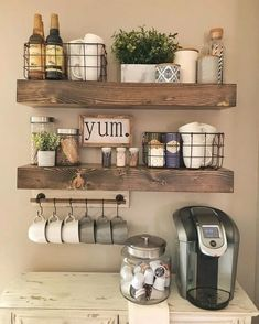 If you are looking for Rustic Farmhouse Kitchen Decor Ideas, You come to the right place. Below are the Rustic Farmhouse Kitchen Decor Ideas. Coffee Bars In Kitchen, Coffee Bar Home, Home Coffee Stations, New Kitchen, Coffee Bar Ideas, Shelves In Kitchen, Coffee Bar Design, Coffee Station Kitchen, Kitchen Shelf Decor