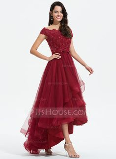A-Line Off-the-Shoulder Asymmetrical Tulle Evening Dress With Beading Sequins Bow(s) - Evening Dresses - JJ's House Tulle Bridesmaid Dress, Straps Prom Dresses, Homecoming Dresses, Swatch, Cute Dresses For Party, Tulle Wedding, Wedding Dresses, Custom Dresses, Anna Dress