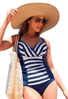 Jessica London Plus Size Striped Tankini Navy Ivory Stripe | More stripes, polka dots and pom poms here: http://mylusciouslife.com/colour-textiles-stripes-polka-dots-pom-poms/