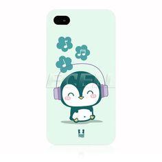 Head Case Music Lover Penguin Kawaii Penguin Back Case for Apple iPhone 4 4S