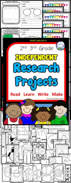 MEGA PACK for fun, quick research projects for 2nd and 3rd graders.  Help build Common Core research, reading, and science skills. Great for EARLY FINISHERS.