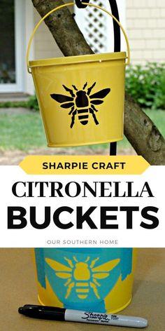Sharpie Crafts, Sharpie Markers, Sharpies, Citronella, Outdoor Entertaining, Buckets, Rustic Design, Hostess Gifts, Helpful Hints