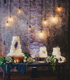 STUNNING: Ultra Violet amethyst geode wedding cake display | Two Pair Photography via Brides of Austin