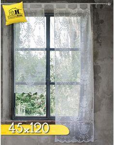 Tenda vetro con mantovana Blanc Mariclo in colore Bianco e Lino 45x60 ...