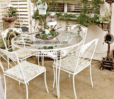 Spring Solar Table Center Piece/Wrought Iron Table Recovered Cushions