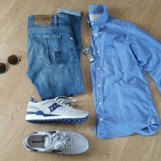 Summer 2017 style! Blue jeans,saucony shoes,oxford shirt,Casio watch,ojo sunglasses