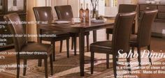 7pc Soho Style Birch & Veneers Dining Table & Leatherette Parson Chairs Set by Coaster Home Furnishings. $1099.00. Some assembly may be required. Please see product details.. 7pc Soho Style Birch & Veneers Dining Table & Leatherette Parson Chairs Set This is a brand new 7 pieces Soho Style dining table set. This updated dining room collection of clean styling and gentle curves is made of birch solid and veneers with matching black leatherette parson chairs. Set i...