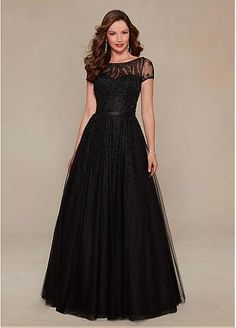 Gorgeous Tulle Bateau Neckline Floor-length A-line Mother of the Bride Dresses with Rhinestones