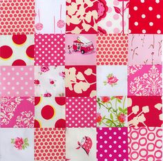 Cute idea for a scrap quilt---this is the pink square but there are several others on the website
