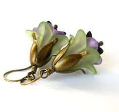 Green and Lavender Lucite Flower Earrings Purple Floral Dangles Woodland Fairytale Inspired Jewelry Bridesmaid Earrings by RomanticFables on Etsy https://www.etsy.com/listing/229926528/green-and-lavender-lucite-flower