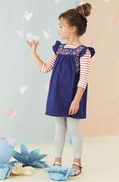 Mini Boden Embroidered Dress & Boatneck Tee (Toddler, Little Girls & Big Girls) | Nordstrom