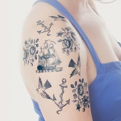 Tattly™ Designy Temporary Tattoos — Nautical Set: cute, realistic looking temporary tattoos for a Halloween costume or fun party favors for any time of the year