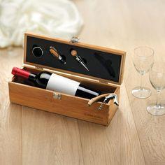 Set vino in bamboo personalizzato con il tuo logo - accessori cucina, accessori vino, gadget bamboo, gadget cucina, gadget matrimonio, gadget natale