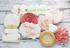 Floral She Said Yes Cookies, Bridal Brunch Cookies, Diamond Ring Decorated Cookies, Wedding cookies, Ring Cookies, Bridal Shower cookies