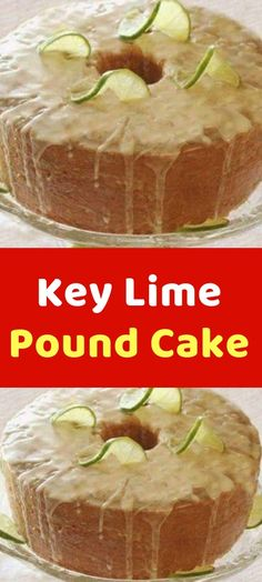 Key Lime Pound Cake Ingredients: 1 cup butter softened cup shortening 3 cups sugar 6 eggs 3 cups self rising flour 1 cup milk 1 tsp vaniila 1 tsp lime zest cup lime juice Directions: In a mixing bowl cream butter, shortening and sugar together Key Lime Desserts, Just Desserts, Delicious Desserts, Dessert Recipes, Recipes Dinner, Yummy Treats, Baking Recipes, Healthy Recipes, Key Lime Pound Cake