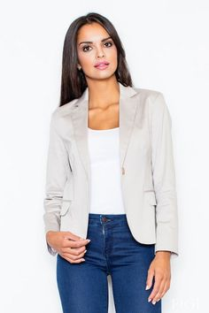 Peak collar blazer with single button closure. This beige blazer can be worn over a sleeveless dress or work appropriate blouse. Shades Of Beige, Color Shades, Beige Blazer, Jacket Buttons, Fashion Addict, Fashion Boutique, Plus Size Fashion, Street Wear, Casual Outfits