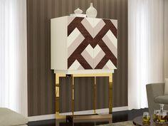 Meuble bar. Mod. VENECIA Selena, Table Lamp, Home Decor, Wood Veneer, Solid Wood, Steel, Furniture, Venice, Marquetry