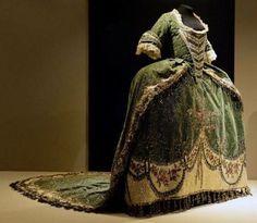 Court dress, embroidered green velvet, 18th century