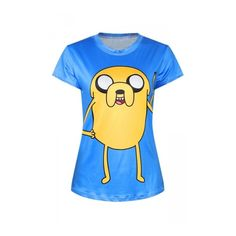 Pink Queen Blue Ladies Crew Neck Adventure Time Jake Printed T-shirt (€16) ❤ liked on Polyvore featuring tops, t-shirts, crewneck tee, blue t shirt, crew neck t shirt, crew neck tee and crew neck tops