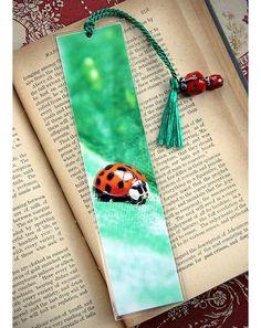 Cute Ladybug Fine Art Photo Bookmark w/ Glass Lampwork Beads $8.99
