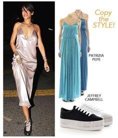 Copia lo #streetstyle di #Rihanna! Sneakers #JeffreyCampbell: http://bit.ly/1oZvGOO Abito lungo #PatriziaPepe: http://bit.ly/1od6WnN