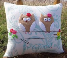 Girls Rock Owls Accent Pillow for girl by cloverlaneboutique, $35.00