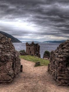 Urquhart Castle sits beside Loch Ness in the Highlands of Scotland.