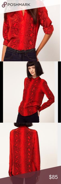 EQUIPMENT Fiery Red Brett Silk Blouse Hard To Find-Dark Python print. Collarless straight slim silhouette fit with breast pocket and exclusive light weight fabric. 100% silk Excellent condition. Looks great with leather leggings Equipment Tops Blouses