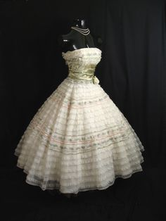 Vintage 50's 50s STRAPLESS Bombshell Ivory Pink by VintageVortex, $399.99