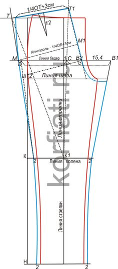 Выкройка-основа мужских брюк задняя половинка