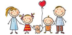 Illustration of Happy family with two children and a puppy vector art, clipart and stock vectors.